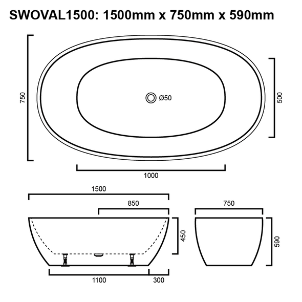 Oval - White Freestanding Bath 1500mm