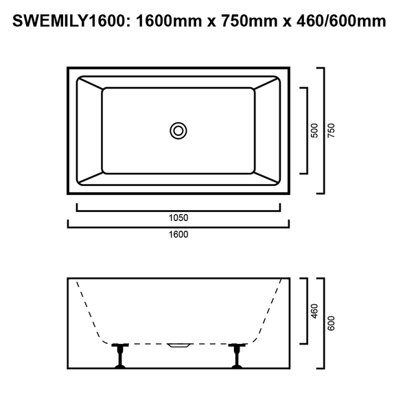 Emily - White Freestanding Bath 1600mm