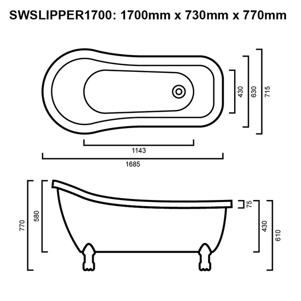 Slipper - White Freestanding Bath 1700mm