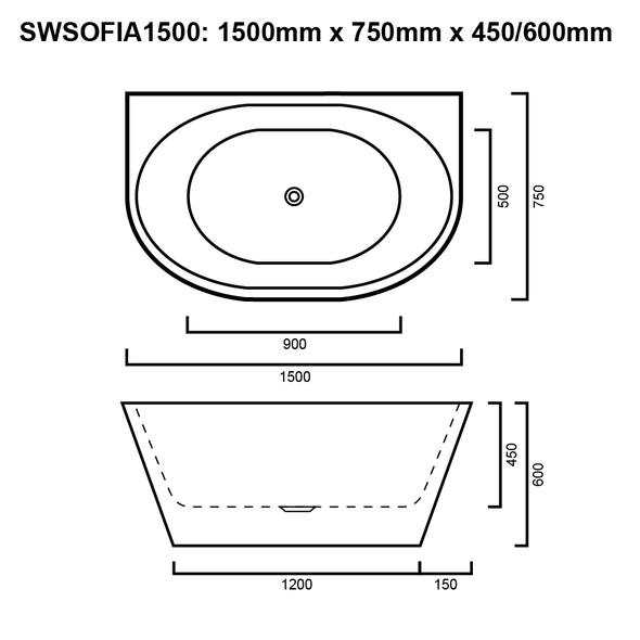 Sofia - White Freestanding Bath 1500mm