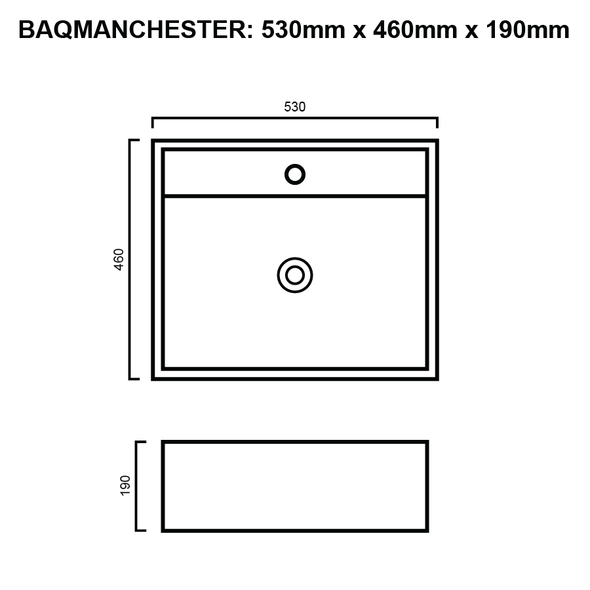 Manchester - White Half Inset Basin