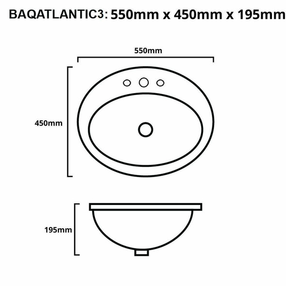 Atlantic - White Inset Basin 3 Tap Hole