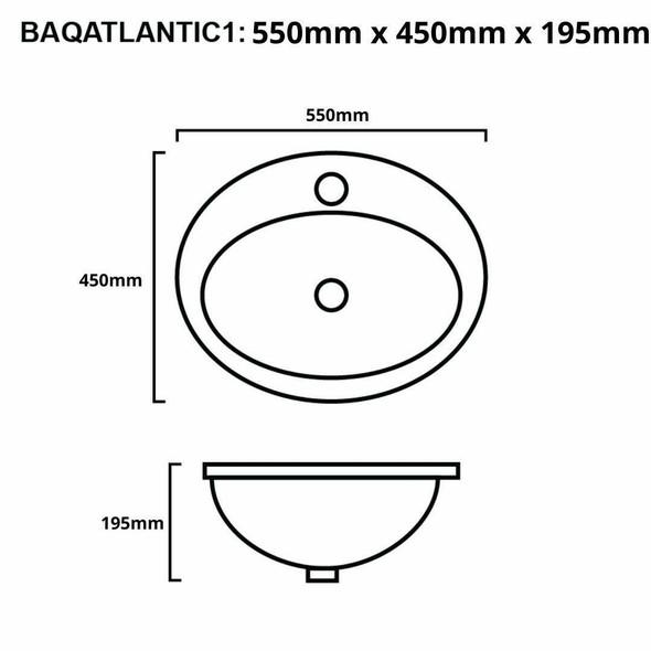 Atlantic - White Inset Basin 1 Tap Hole