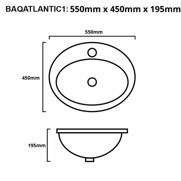 Atlantic - White Inset Basin 1 Tap Hole
