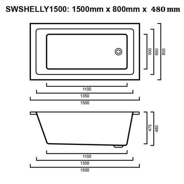 Shelly - White Inset Bath 1500mm
