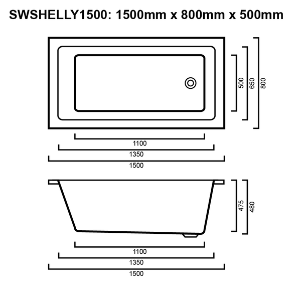 Shelly - White Inset Spa Bath 1500mm