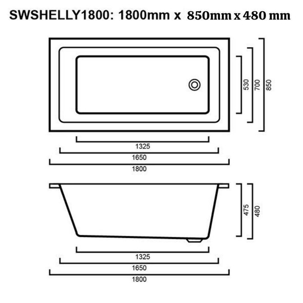 Shelly - White Inset Bath 1800mm