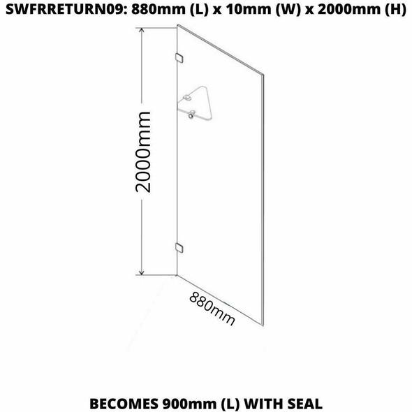Frameless Shower Panel 900mm