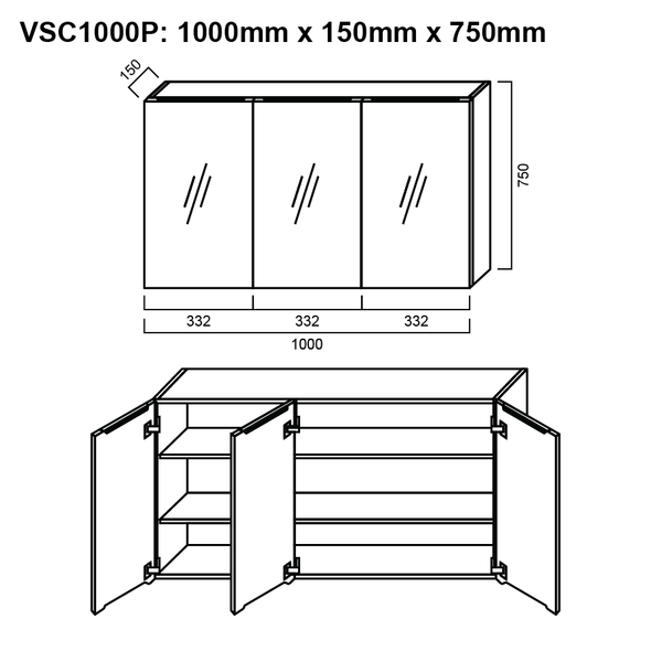 Pencil-Edged Shaving Cabinet 1000mm