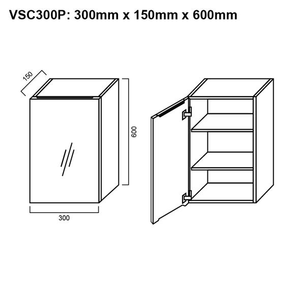 Pencil-Edged Shaving Cabinet 300mm