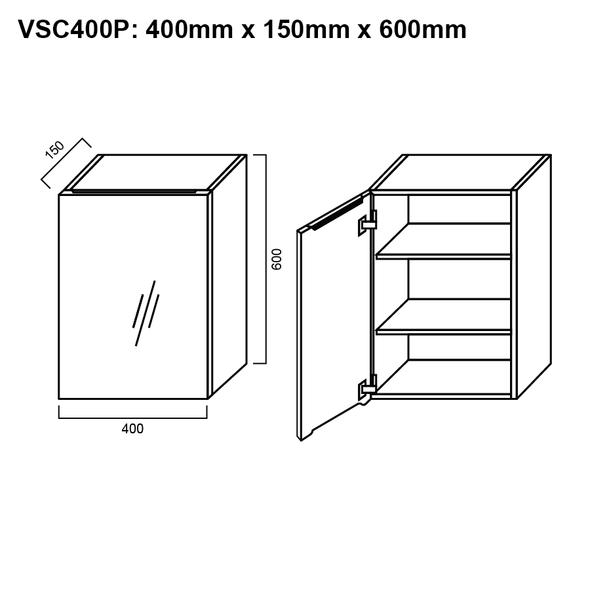 Pencil-Edged Shaving Cabinet 400mm