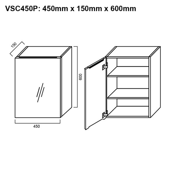 Pencil-Edged Shaving Cabinet 450mm