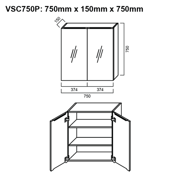 Pencil-Edged Shaving Cabinet 750mm