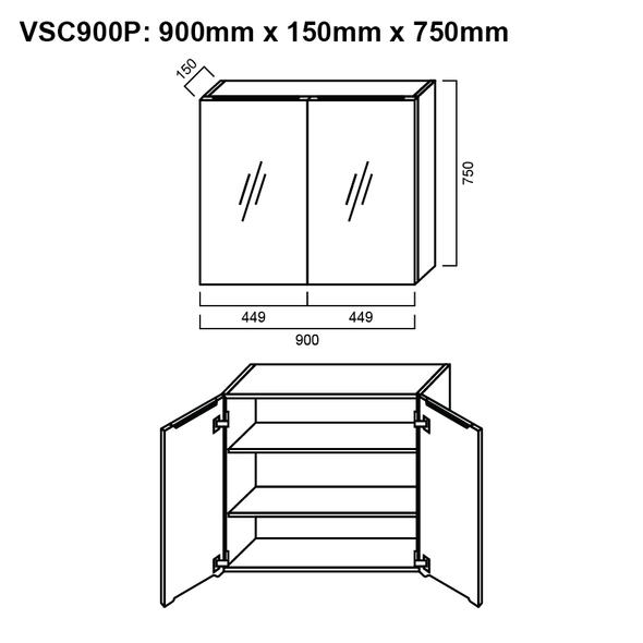Pencil-Edged Shaving Cabinet 900mm