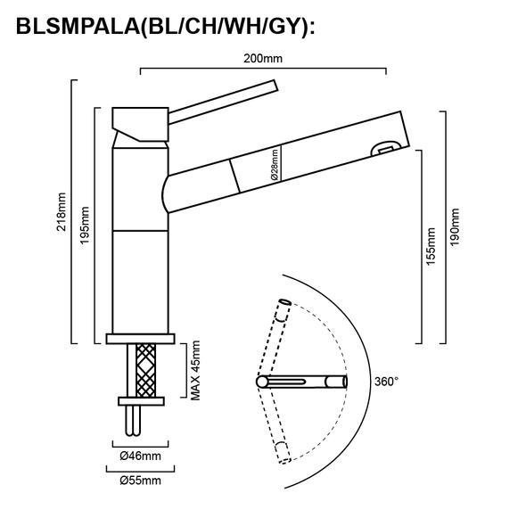 Blanco Alta - Grey Pullout Sink Mixer