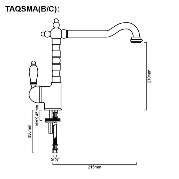 Antiqua - Brass Gooseneck Sink Mixer