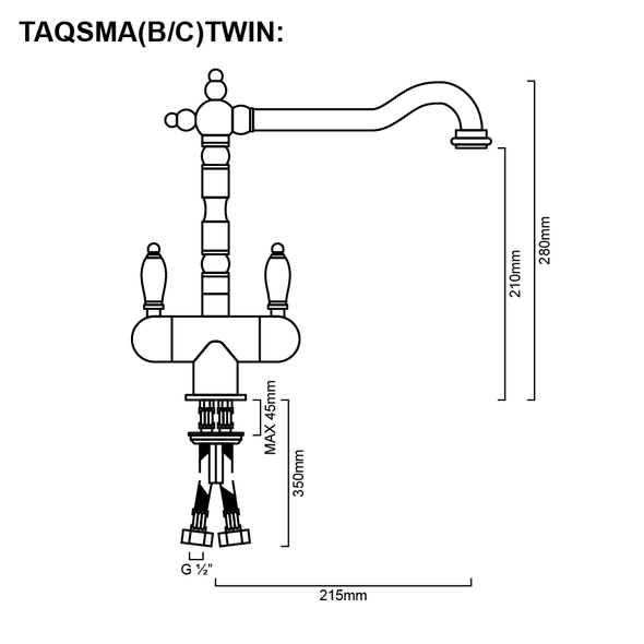 Antiqua - Chrome Gooseneck Twinner Sink Mixer