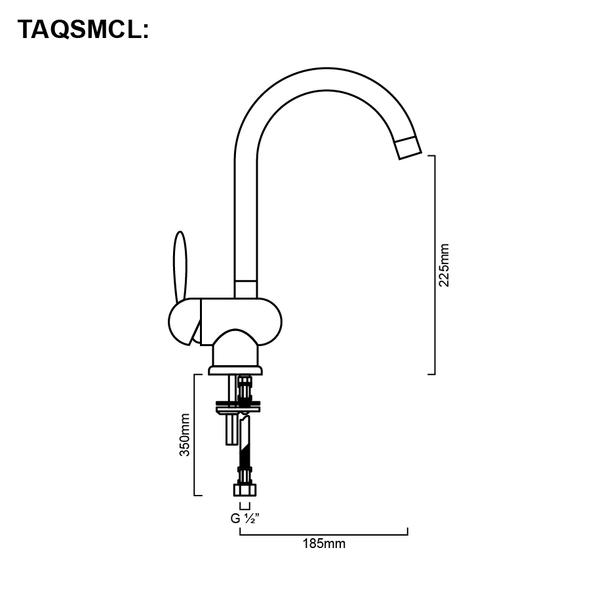 Aquila Lever - Chrome Gooseneck Sink Mixer