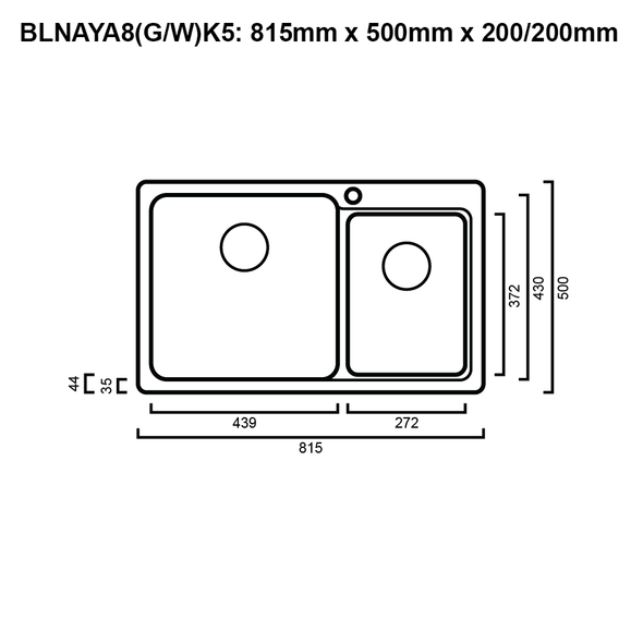 Blanco NAYA8 - Black Granite No Drainer Inset Sink