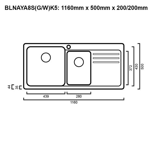Blanco NAYA8 175 - Black Granite Inset Sink