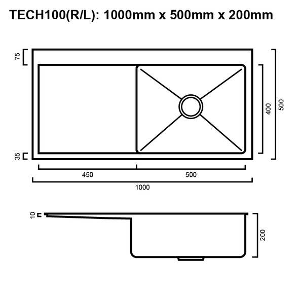 Tech 100 - Stainless Steel Inset Sink
