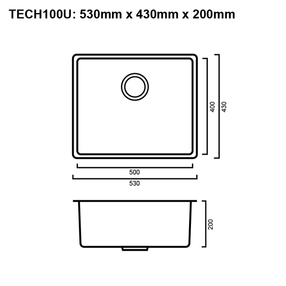 Tech 100U - Stainless Steel Undermount Sink