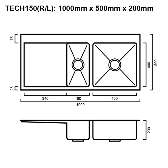 Tech 150 - Stainless Steel Inset Sink