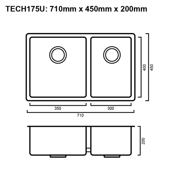 Tech 175U - Stainless Steel Undermount Sink