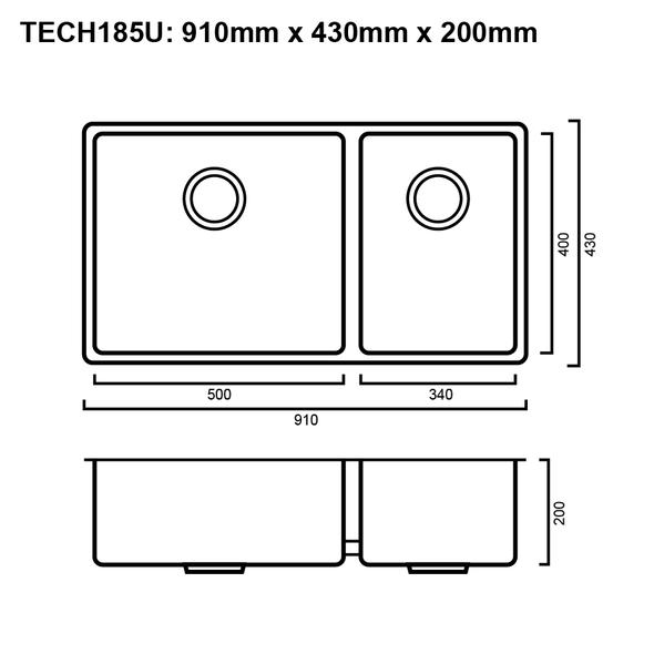 Tech 185U - Stainless Steel Undermount Sink
