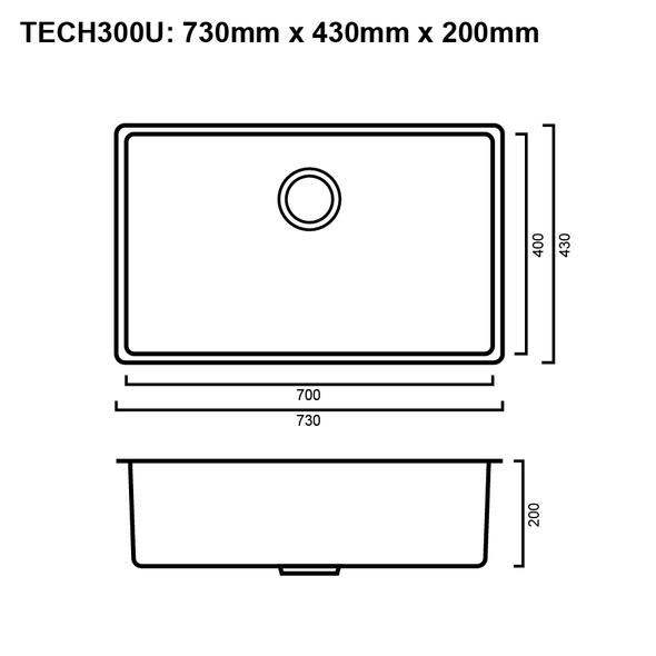 Tech 300U - Stainless Steel Undermount Sink
