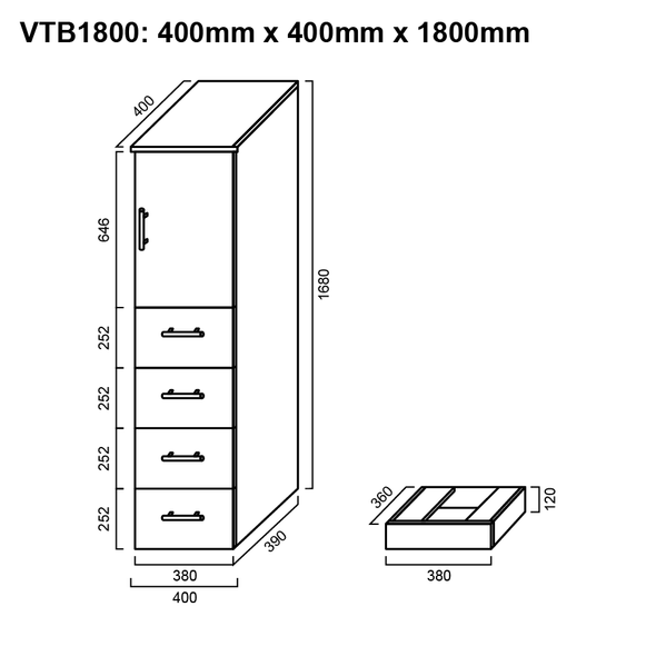 Tall Boy - Bathroom Cabinet 1800mm