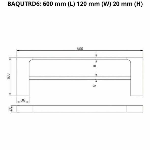 Que - Chrome Double Towel Rail 600mm