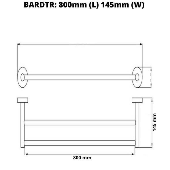 Roma - Chrome Double Towel Rail 800mm