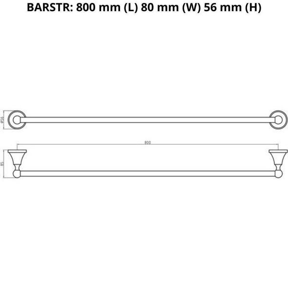Roma - Chrome Single Towel Rail 800mm
