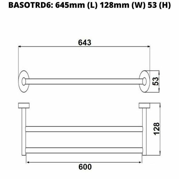 Sofia - Black Double Towel Rail 600mm