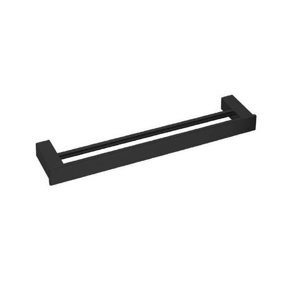 Square - Black Double Towel Rail 600mm