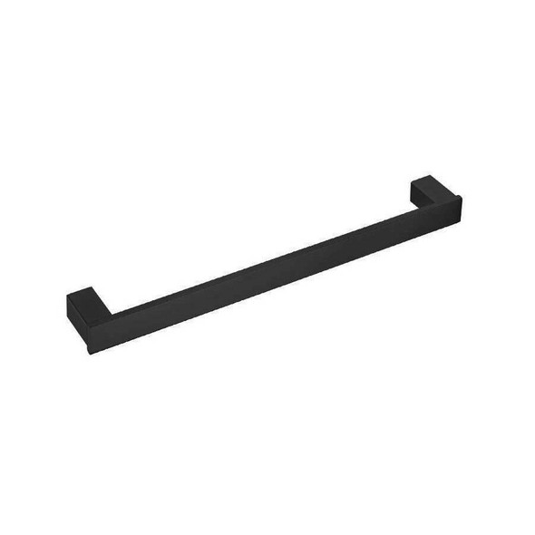 Square - Black Single Towel Rail 600mm