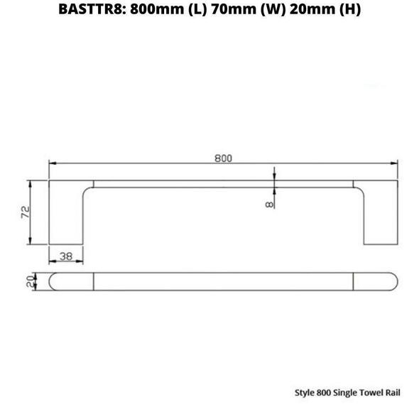 Style - Chrome Single Towel Rail 800mm