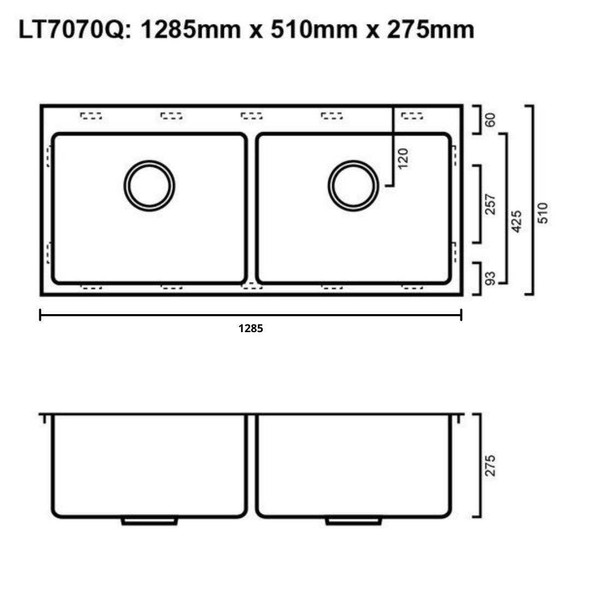 Quadro 70/70L - Stainless Steel Laundry Trough