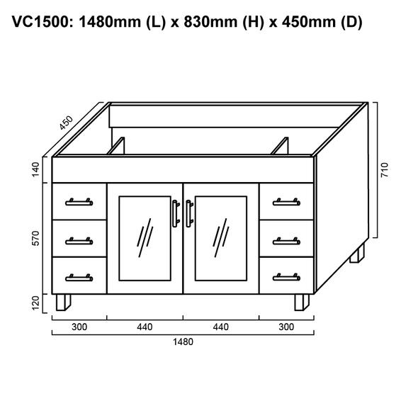 Cube - Floor Mounted Vanity and Top 1500mm