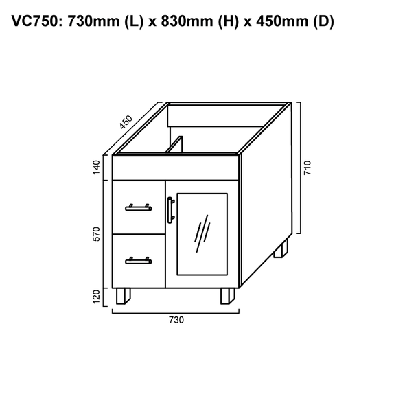 Cube - Floor Mounted Vanity and Top 750mm