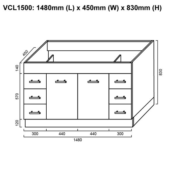 Classic - Floor Mounted Vanity and Top 1500mm