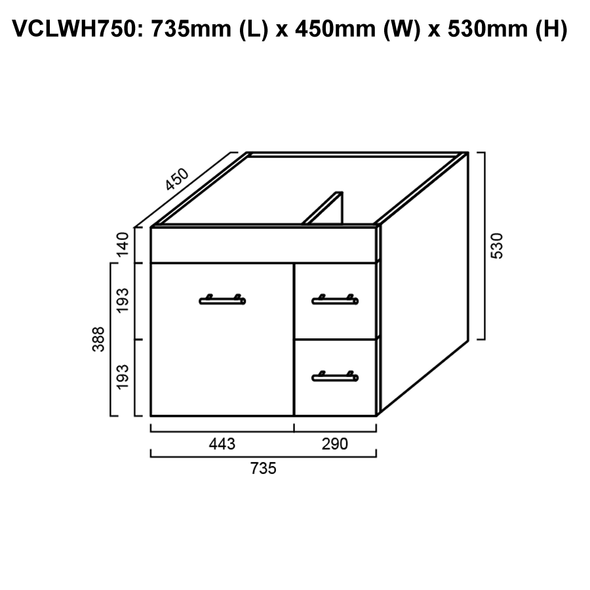 Classic - Wall Hung Vanity and Top 750mm