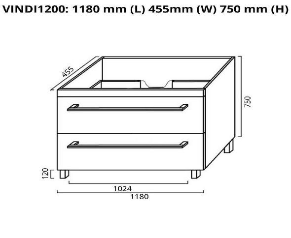 Indi - Floor Mounted Vanity and Top 1200mm