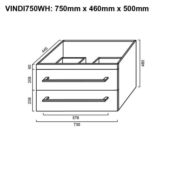 Indi - Wall Hung Vanity and Top 750mm