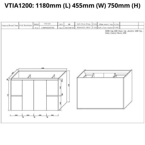 Tia - Floor Mounted Vanity and Top 1200mm
