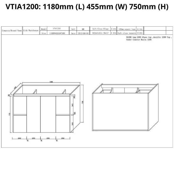 Tia - Floor Mounted Vanity and Top 1200mm