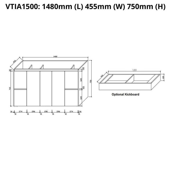 Tia - Floor Mounted Vanity and Top 1500mm