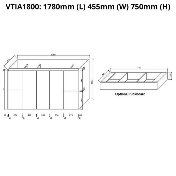 Tia - Floor Mounted Vanity and Top 1800mm