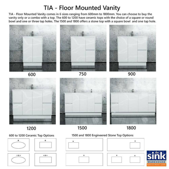 Tia - Floor Mounted Vanity and Top 600mm